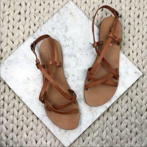 Splendid Camel Brown Strappy Flat Sandals